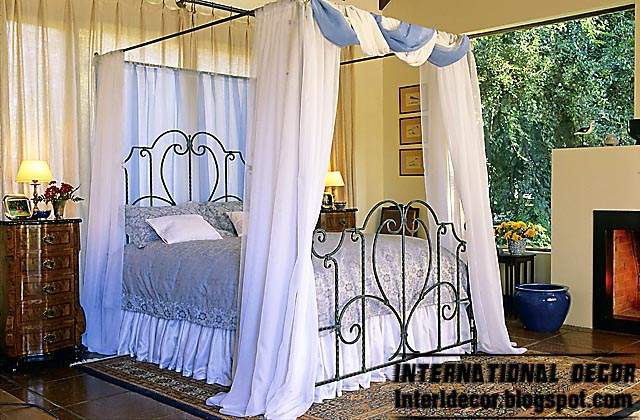 Iron bed designs with bed curtain models, Iron beds furniture ...