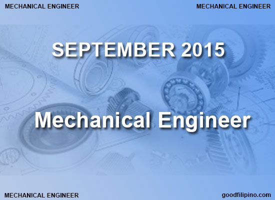 PRC Mechanical Engineer Board Exam Results (September 2015)