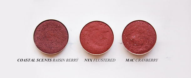 mac cranberry eyeshadow dupe nyx flustered coastal scents raisin berry drugstore swatch