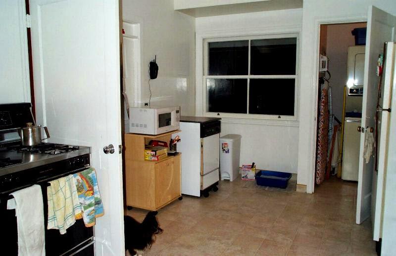 View of kitchen from hallway door