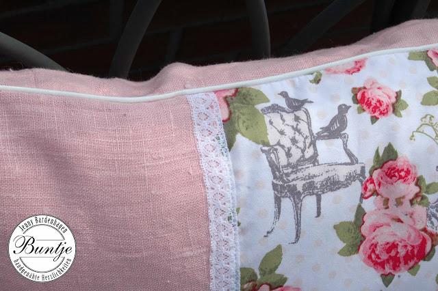 Kissen Kissenhülle länglich 40x6O Leinen vintage shabby Spitze rosa altrose Stenzo Rosen Reißverschluss handmade