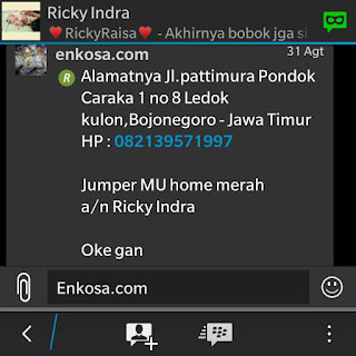 Konfiramsi alamat dan detail pesanan jersey kids bayi Ricky Indra oleh enkosa sport