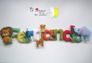 nombre-fieltro-Fernando-decoración-infantil-regalo-personalizados-animales-selva-name-banner-felt-elbosquedelulu-hechoamanoparati