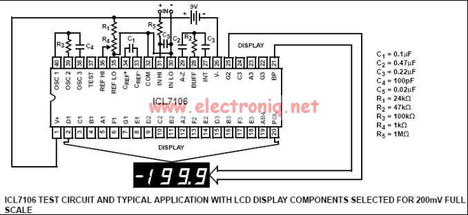 Icl7106 And Icl7106 Based Digital Voltmeter Circuit