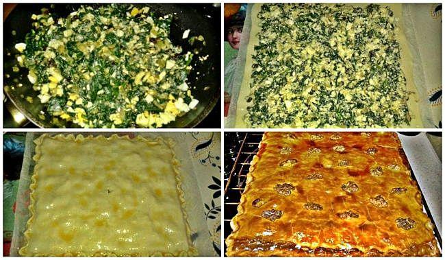 Preparación de la empanada de espinacas, ricotta y nueces