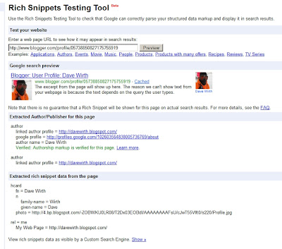 Rich Snippets Testing Tool Verified profile