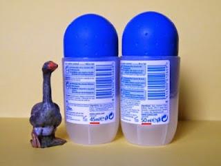 foto de dos desodorantes roll-on de Sanex con mismo precio y envase pero distinta cantidad