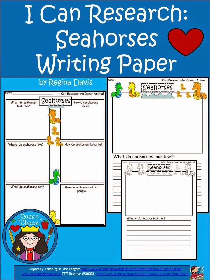 http://www.teacherspayteachers.com/Product/A-I-Can-Research-Seahorses-Writing-Paper-1247853