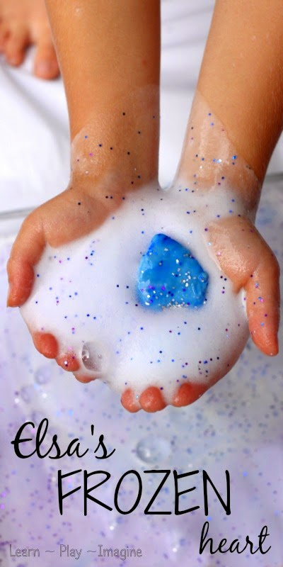 Elsa's Frozen heart - foaming sensory play that will dazzle all the Frozen fans out there.