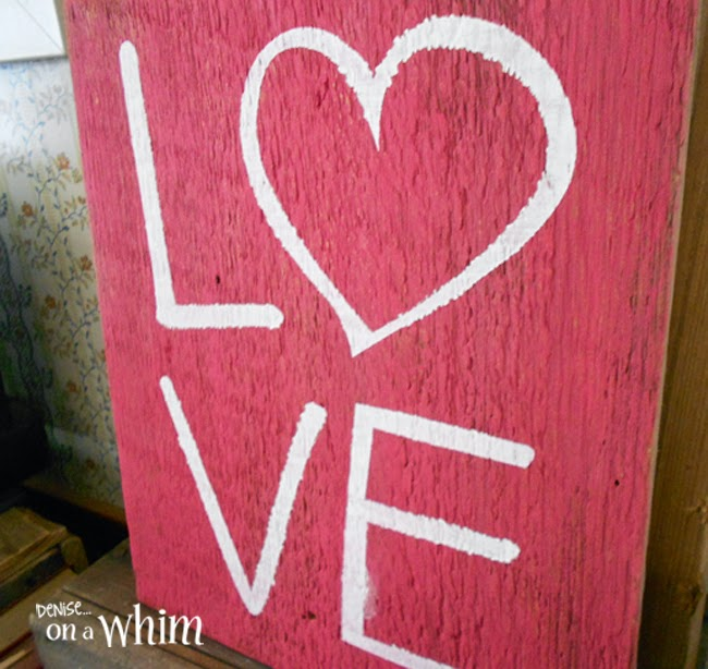 Salvaged Wood Stacked Letter LOVE sign from Denise on a Whim