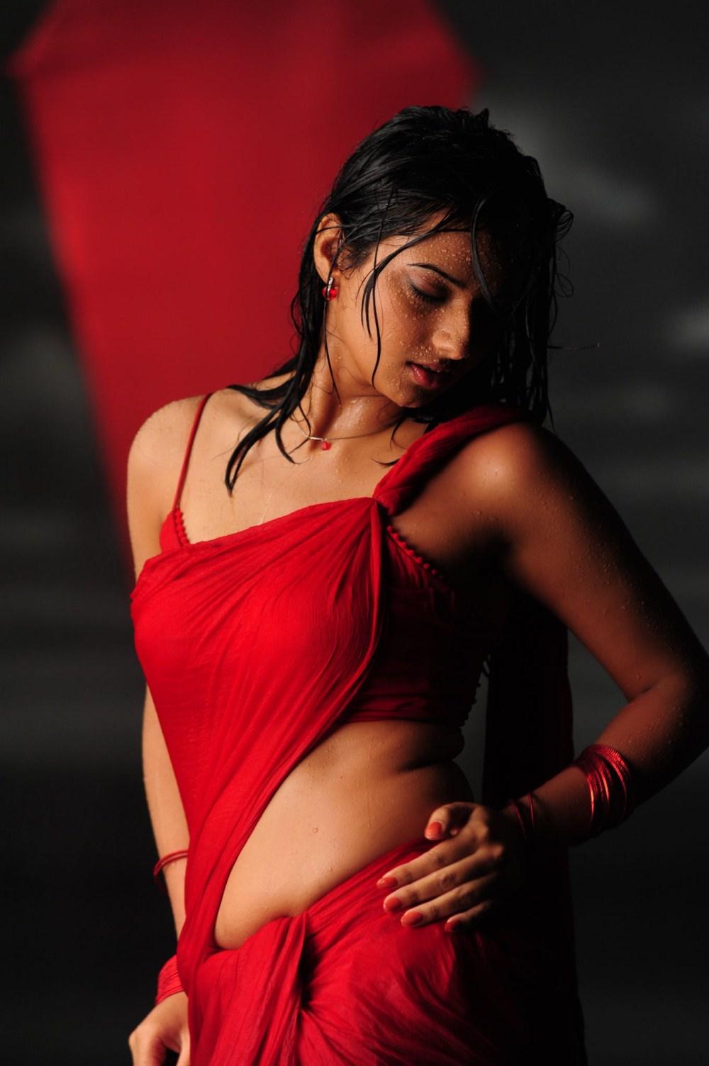 telugu cinema wallpapers: Isha Chawla Hot Wet Red Saree Stills @ Prema ...
