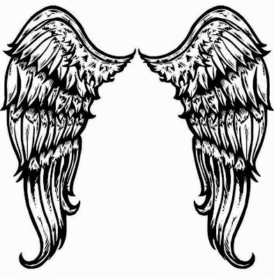 Angel back wings tattoo stencil