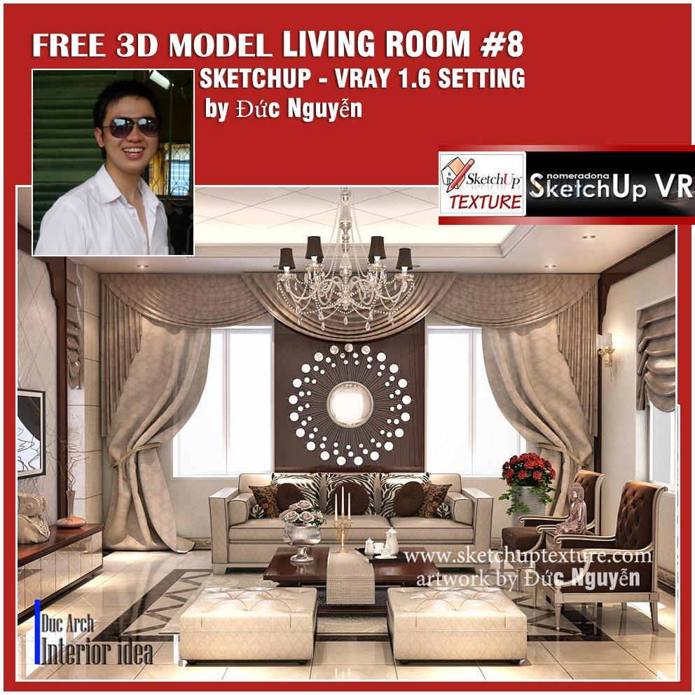 SKETCHUP TEXTURE: SU 3D MODEL LIVING ROOM #8 VRAY SETTING