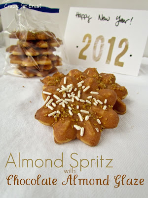 Recipe: Almond spritz cookies with chocolate almond glaze
