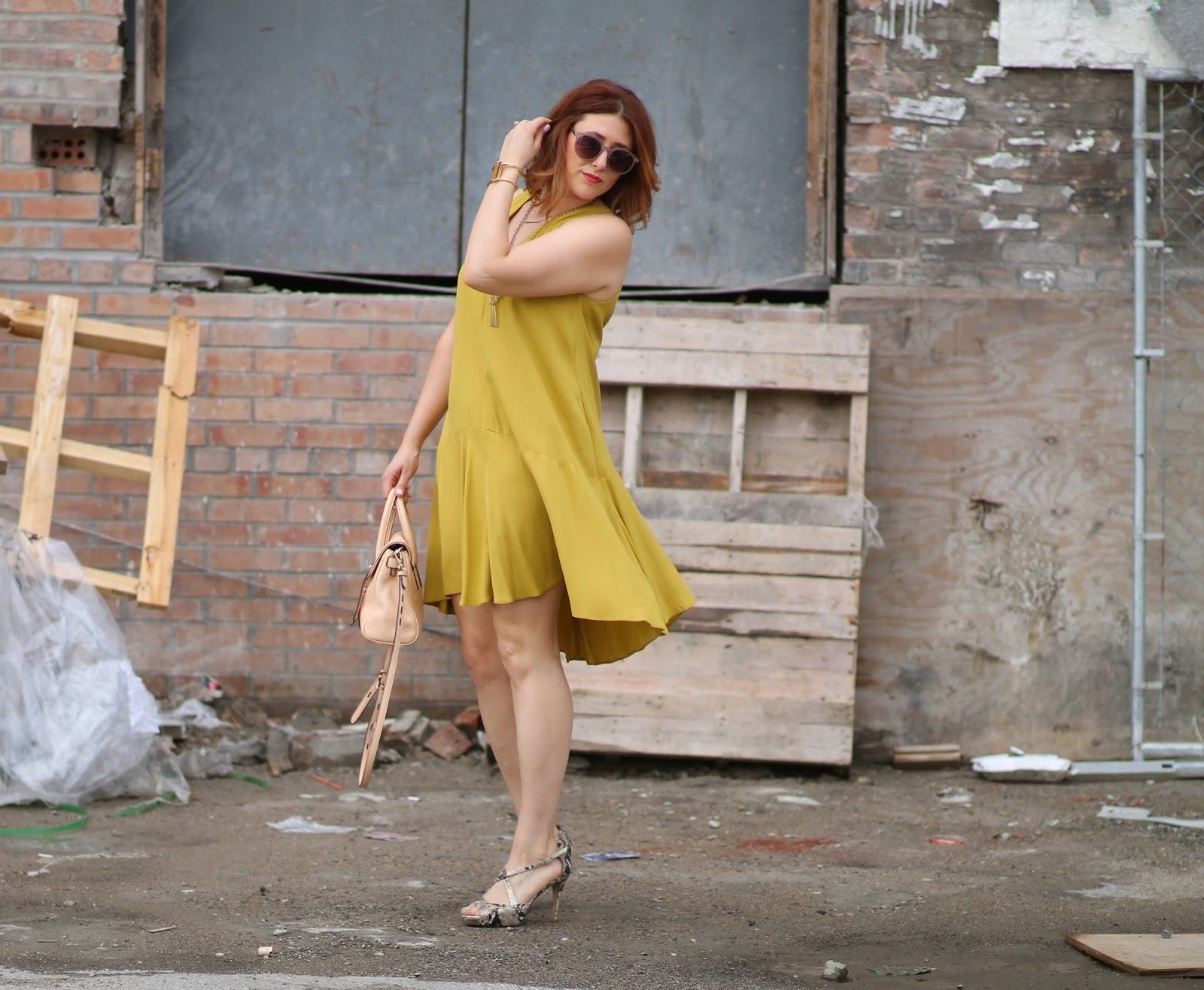 swing, trapeze, dress, kate, spade, heels, Jules, satchel, rebecca, Minkoff