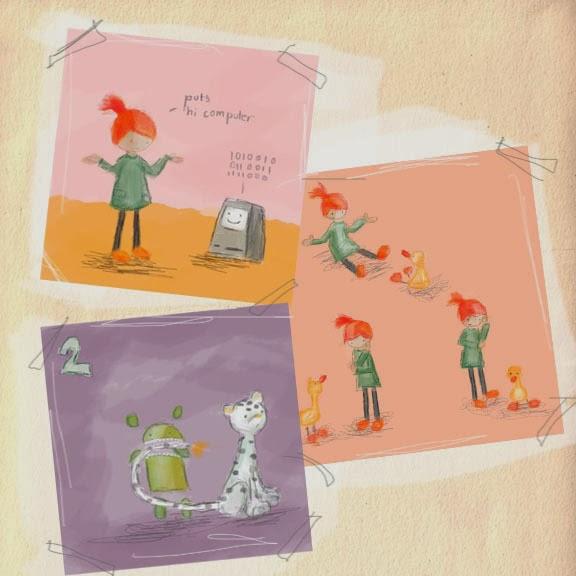 """""""Hello Ruby"""" Kickstarter de Linka Liukas - Ruby encontra um android verde, um leopardo da neve e um pinguim"""