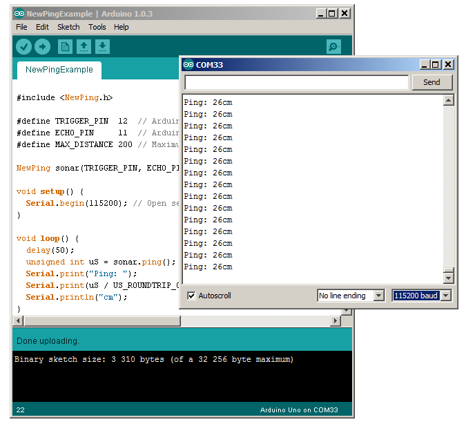 Download newping.h library arduino