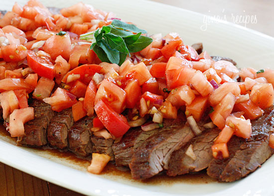 Grilled Flank Steak With Tomatoes, Red Onion and Balsamic ...