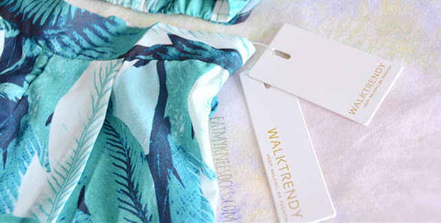 WalkTrendy's items come with custom tags, like this leaf-print two-piece summer set.
