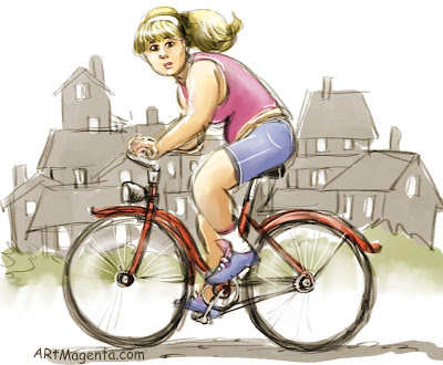 Tired of biking is a cartoon by Artmagenta