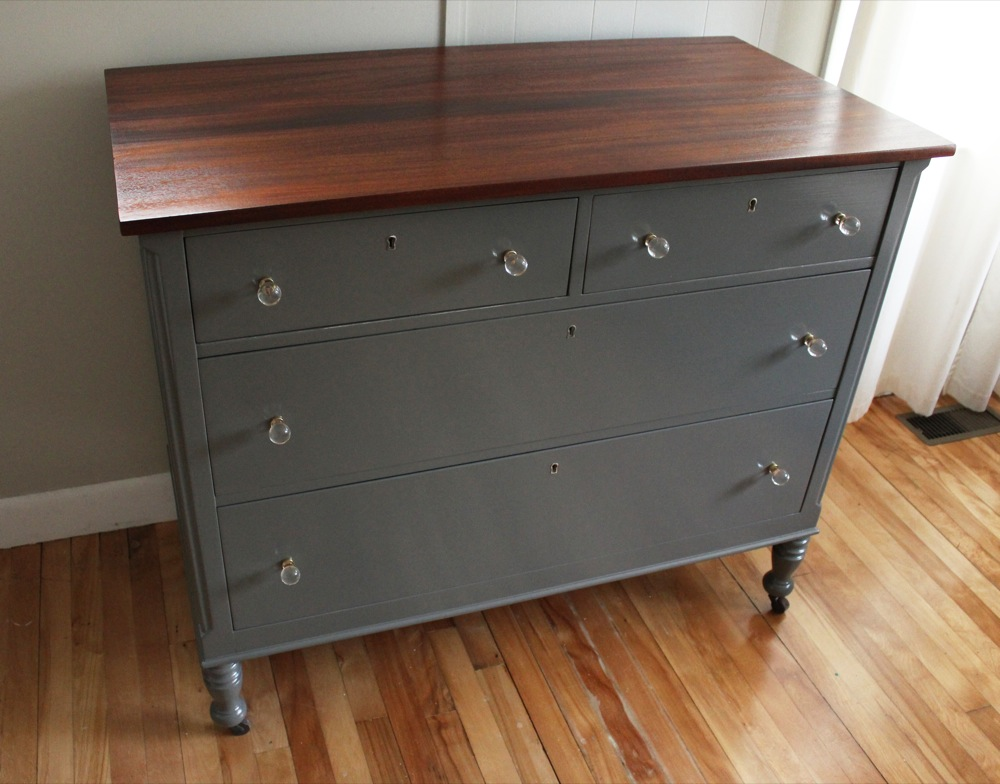 blue furnishings antique sligh dresser w glass