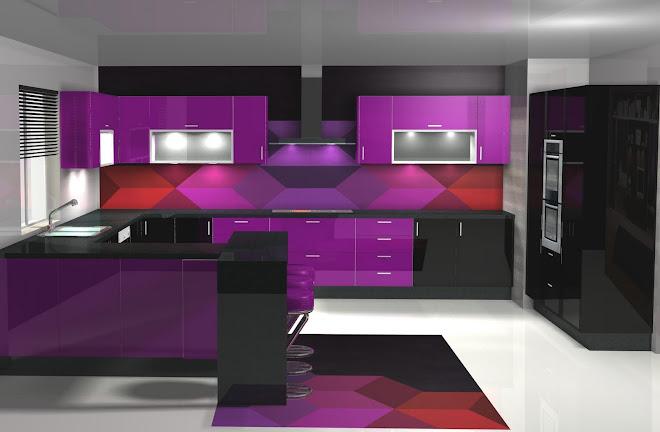 Diseño de cocina en negro y morado