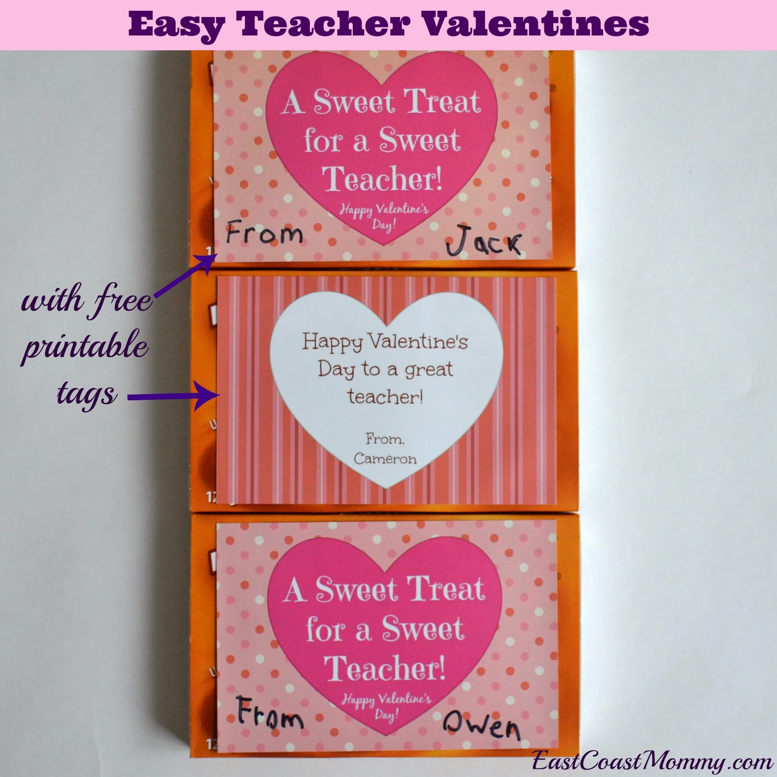 east coast mommy last minute teacher valentines with free printable tags - Valentines Pictures Free