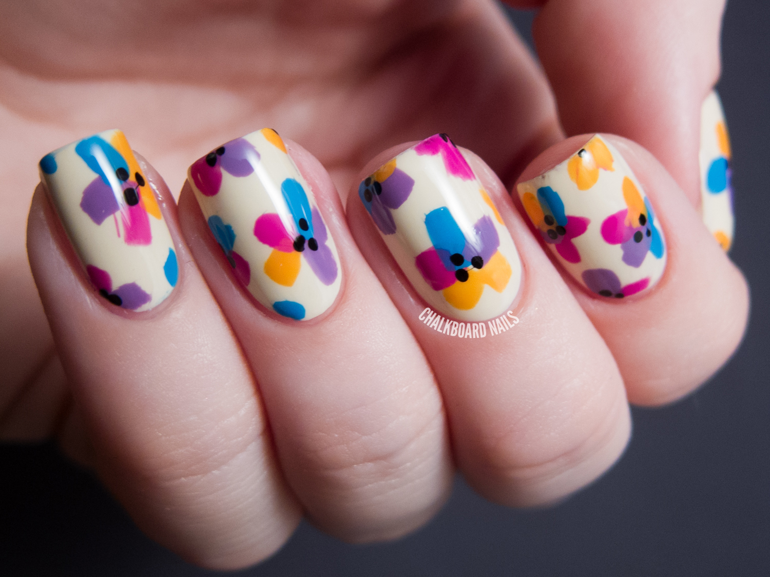 My Bright Easter Floral | Chalkboard Nails | Nail Art Blog
