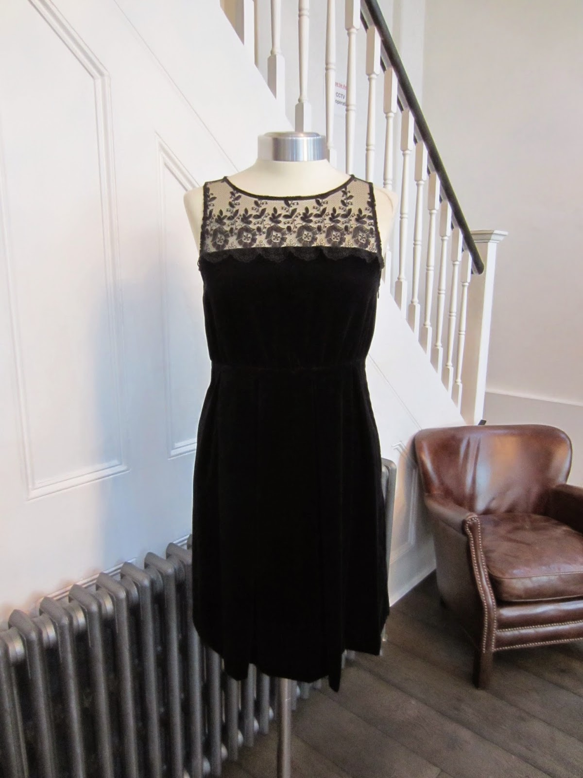 Karl Lagerfeld Black Velvet Dress with Black Lace Trim