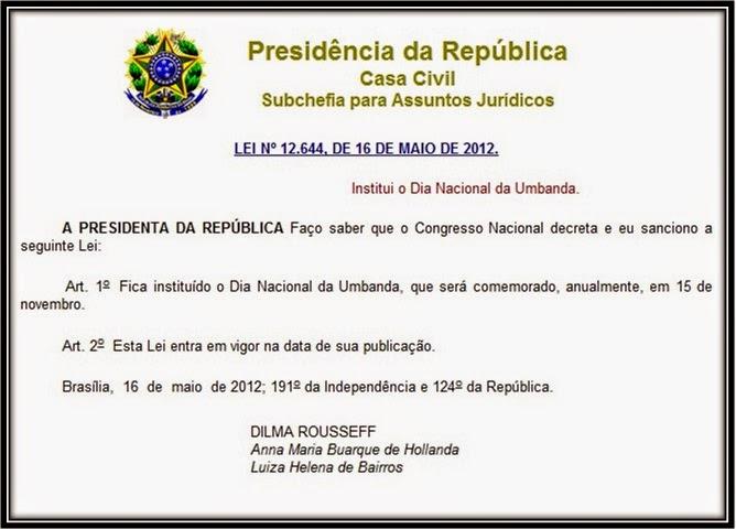 15 de Novembro - Dia Nacional da Umbanda