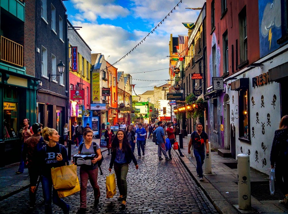 People walking through Temple Bar neighborhood