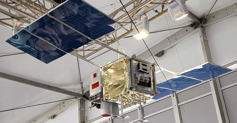 A mockup of Kanopus-V satellite in deployed position. Copyright: Anatoly Zak