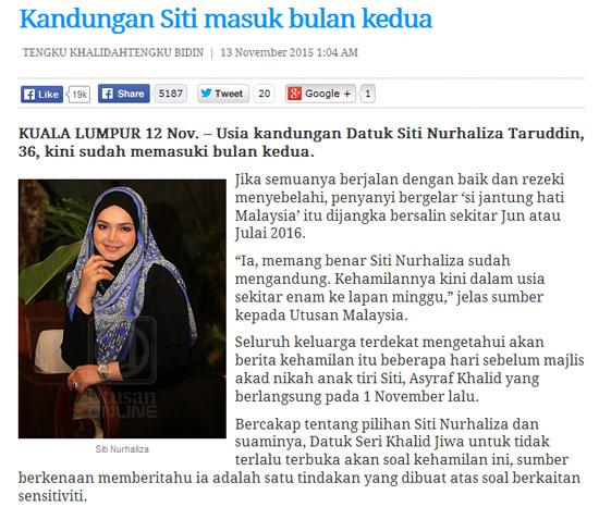 Tahniah Siti Nurhaliza Sah Mengandung