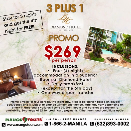 Mango Tours Diamond Hotel Philippines 3 PLUS 1 Promo Package