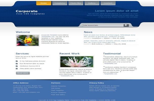 Business corporate blue css template accmission Choice Image