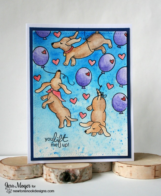 Watercolor Doxie Encouragement Card by Jess Moyer featuring Newton's Nook Designs Delightful Doxies