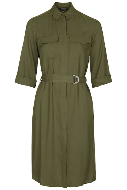 khaki shirt dress, topshop khaki dress,