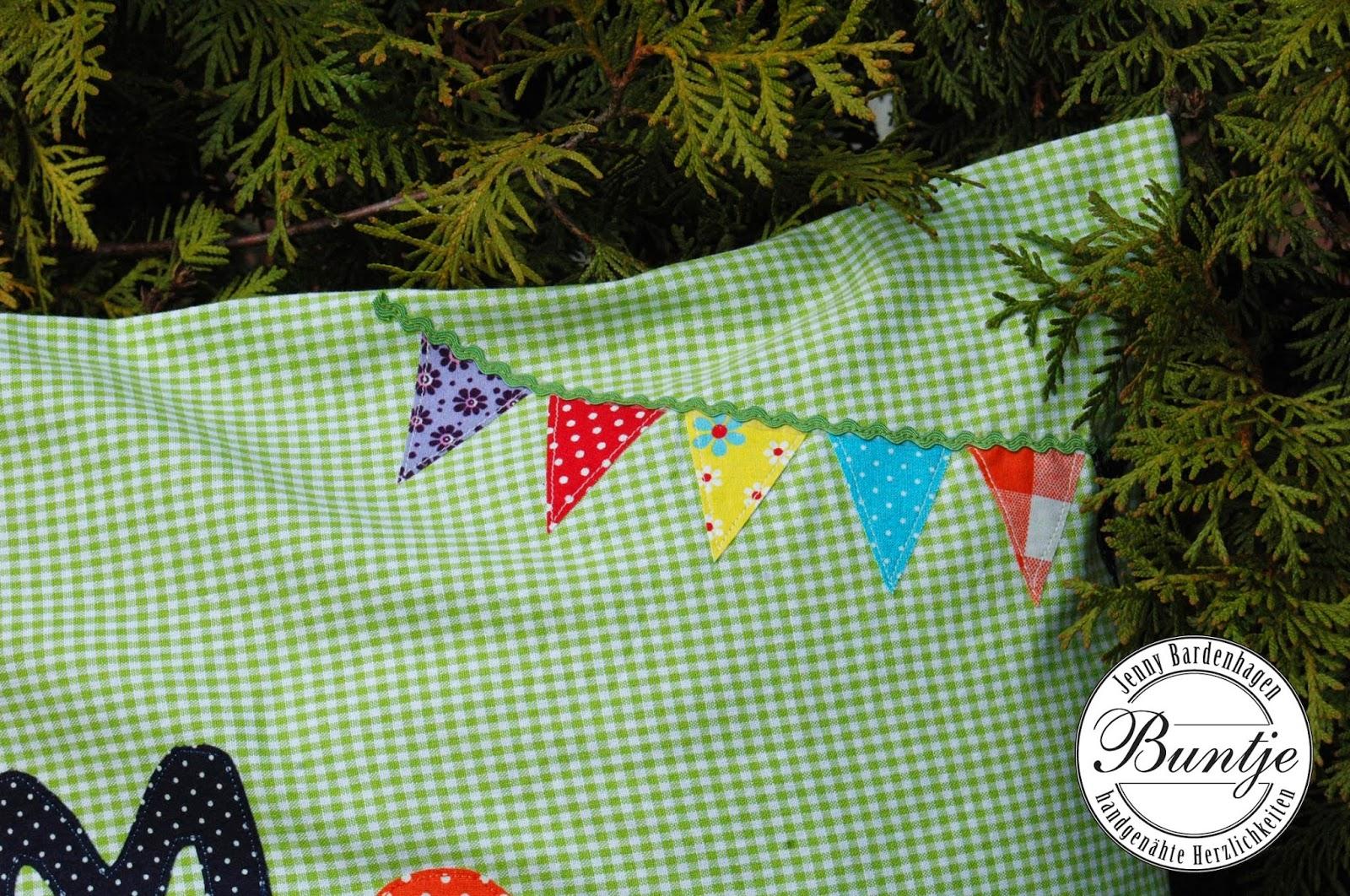 Kissen Name Geschenk Geburt Taufe Geburtstag Junge Karo grün handmade Buntje nähen Moritz