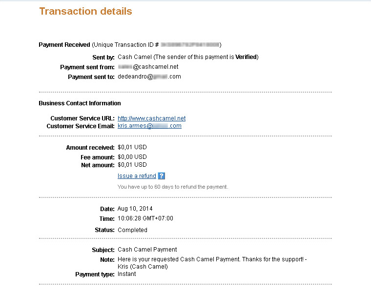 CashCamel Payment August 2014