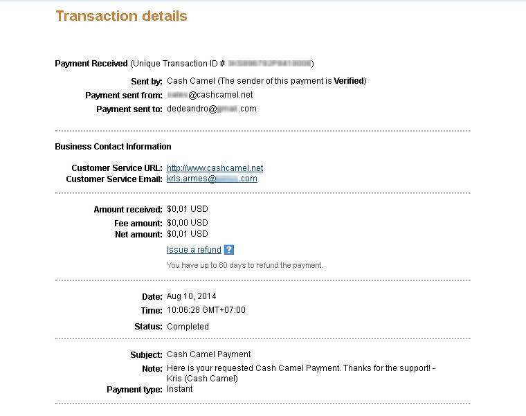CashCamel Payment August 2014