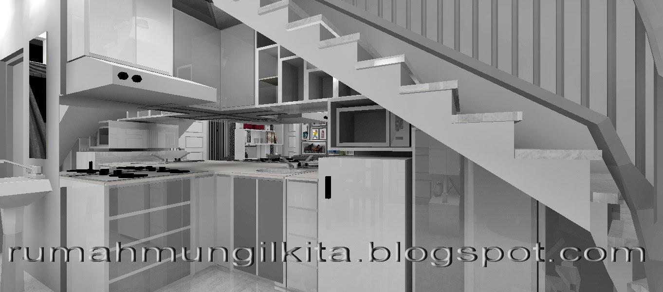 kitchen set mungil minimalis putih abu-abu di bawah tangga & Kumpulan Desain Dapur Berukuran Sangat Mungil - RUMAH mungil KITA