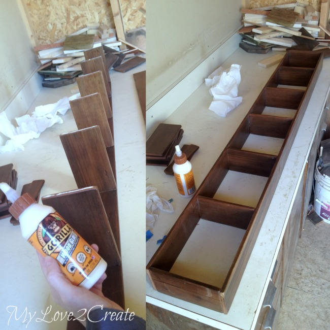 Attaching the other side piece to the cubby storage rack