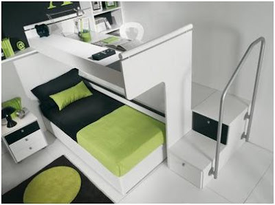 GREEN BEDROOMS FOR CHILDREN LOFT STYLE - DORMITORY FOR YOUNG PEOPLE