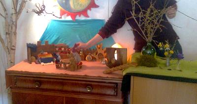 Monatsfeier im Kindergarten, Waldorf, Puppenspiel, April