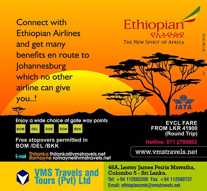 Connect with Ethiopian Airlines and get many benefits en route to Johannesburg