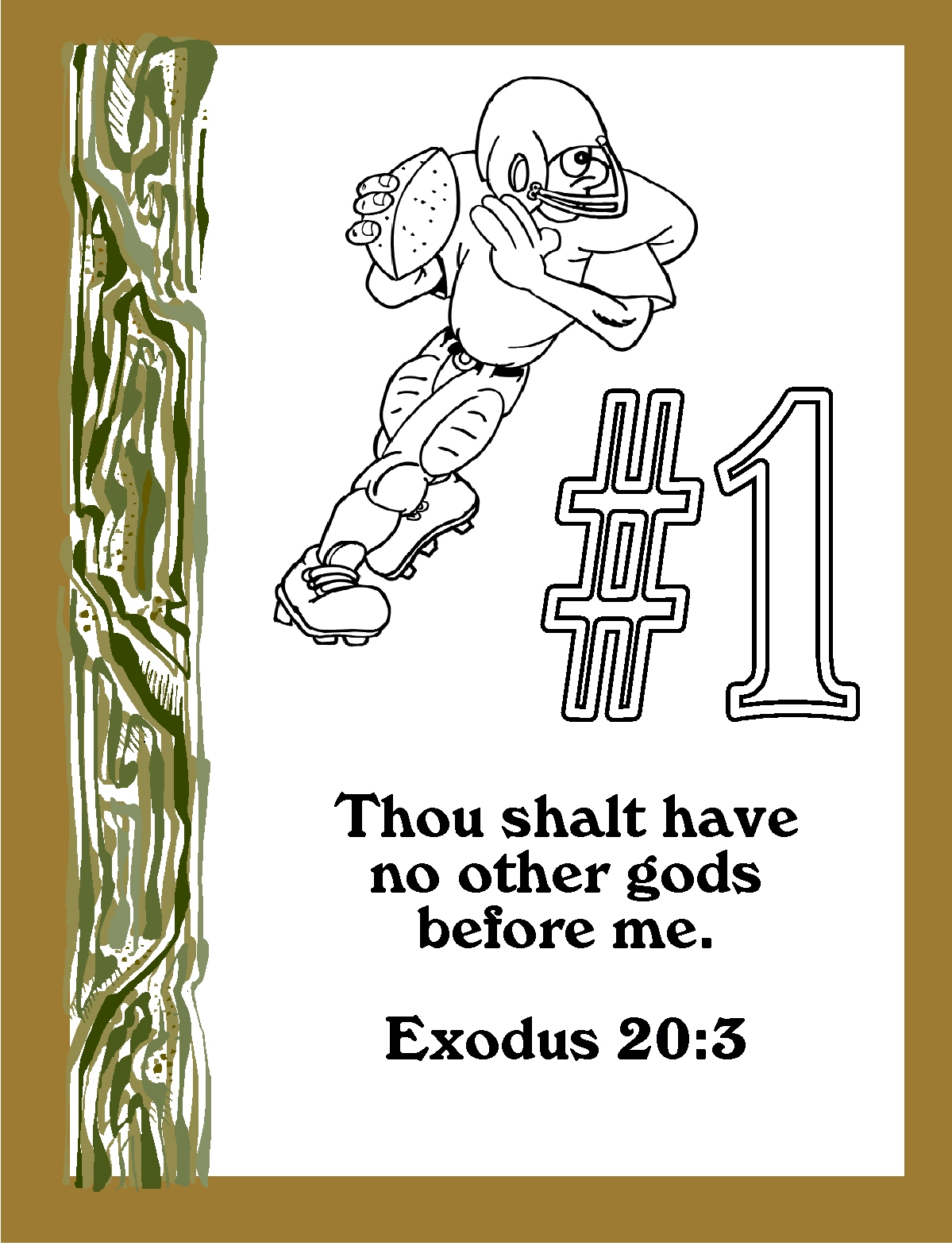 childrens gems in my treasure box the big ten ten ten commandments football coloring pages