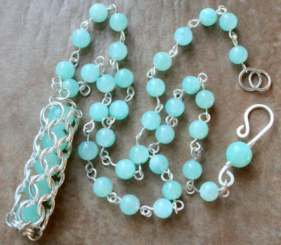 'Caught you!' - chainmaille capture in silver & jade (necklace) :: All Pretty Things