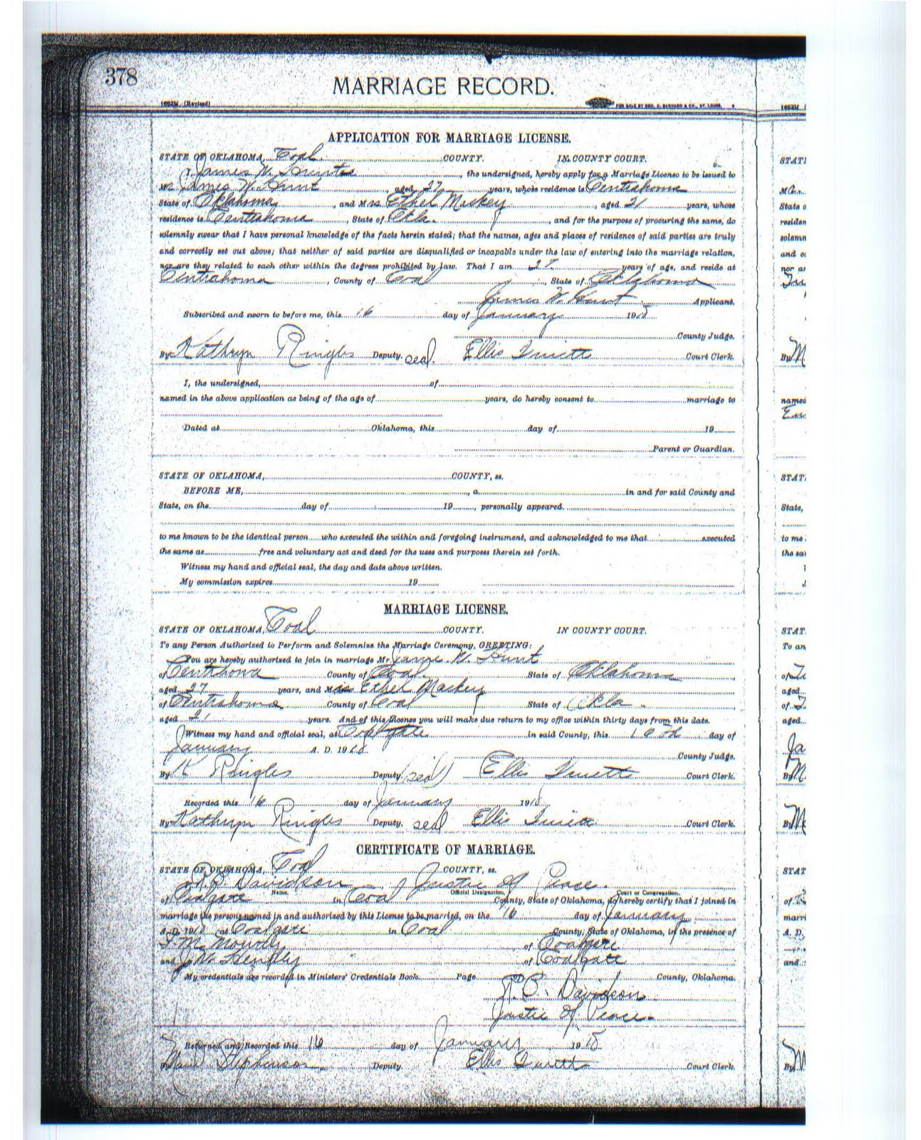 Shaking leaves my adventures in genealogy wedding wednesday a quick google search led me to the coal county genealogical society where i found an index of this its the application for marriage license 1betcityfo Choice Image