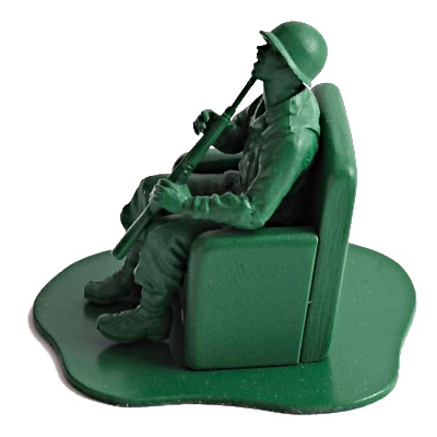 Grøn plastik legetøjs soldat, selvmord ved skud