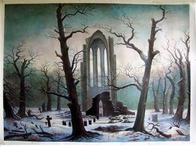 Cimetière de couvent sous la neige